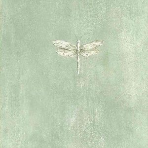 Eddie Bauer dragonflies wallpaper, green, off-white, gray faux finish