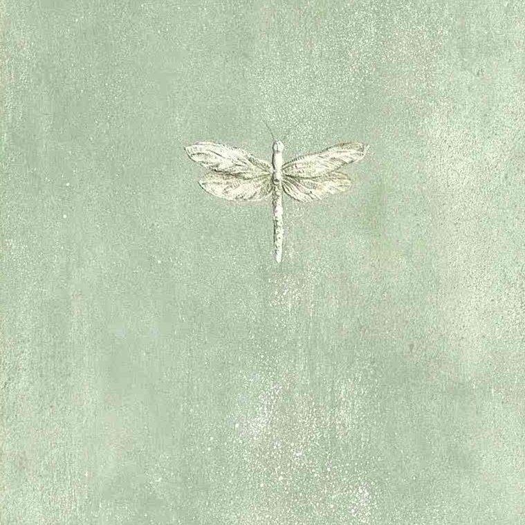 Eddie Bauer dragonflies wallpaper, green, off-white, gray faux finish