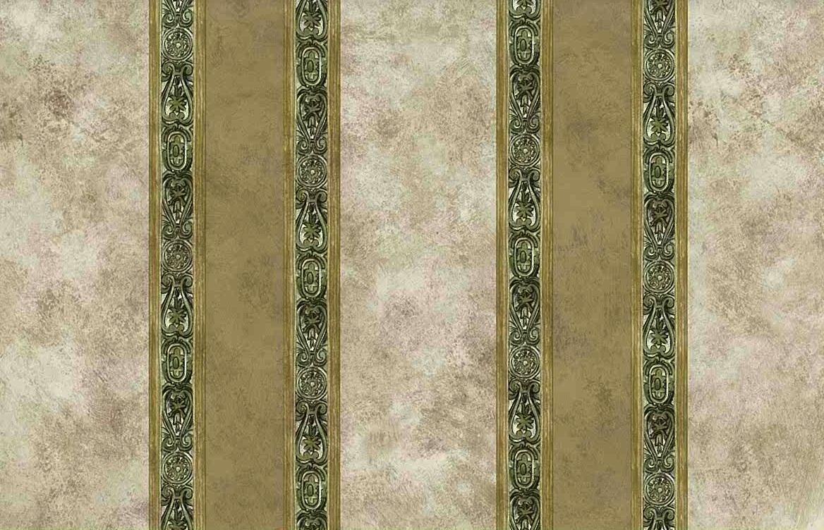 beige green striped vintage wallpaper, beige, faux finish, olive, UK