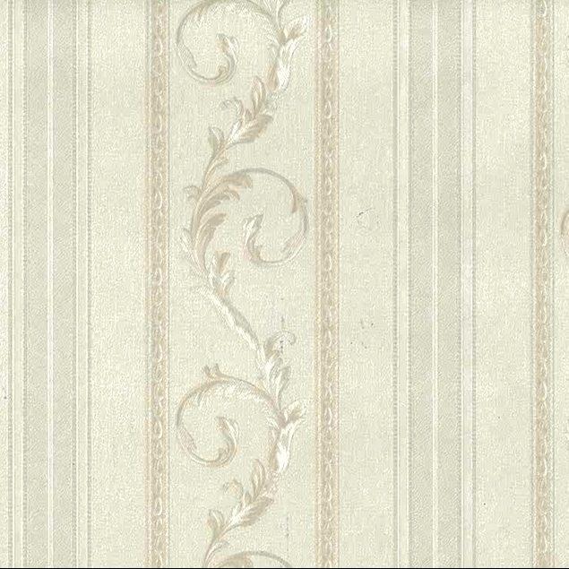 White Scrolls Stripes Vintage Wallpaper Glazed Italy C71812 Drs