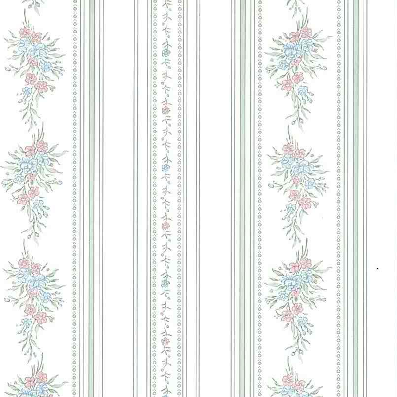 Sanitas vintage floral wasllpaper, stripes, green, pink, blue, bedroom, cottage