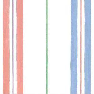 striped childrens vintage wallpaper, pink, blue, green, purple, off white, kids, nursery, playroom