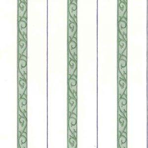 Waverly striped vintage wallpaper, green, purple, off-white, scrolls, bedroom, stripes