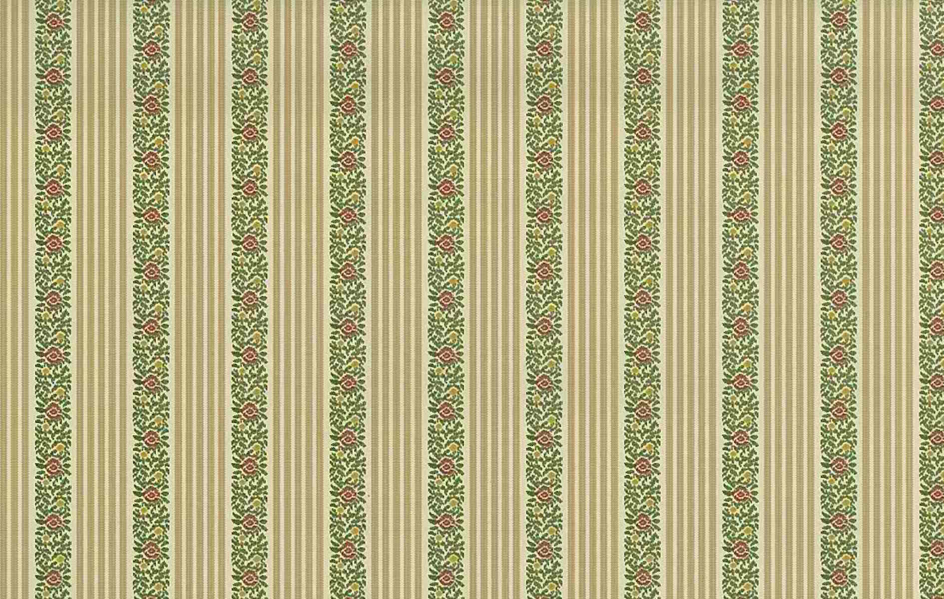 Striped Floral Vintage Wallpaper Beige Cream Green JB0758 D Rs
