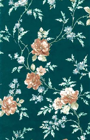 green satin roses vintage wallpaper, blue, brown, cotage