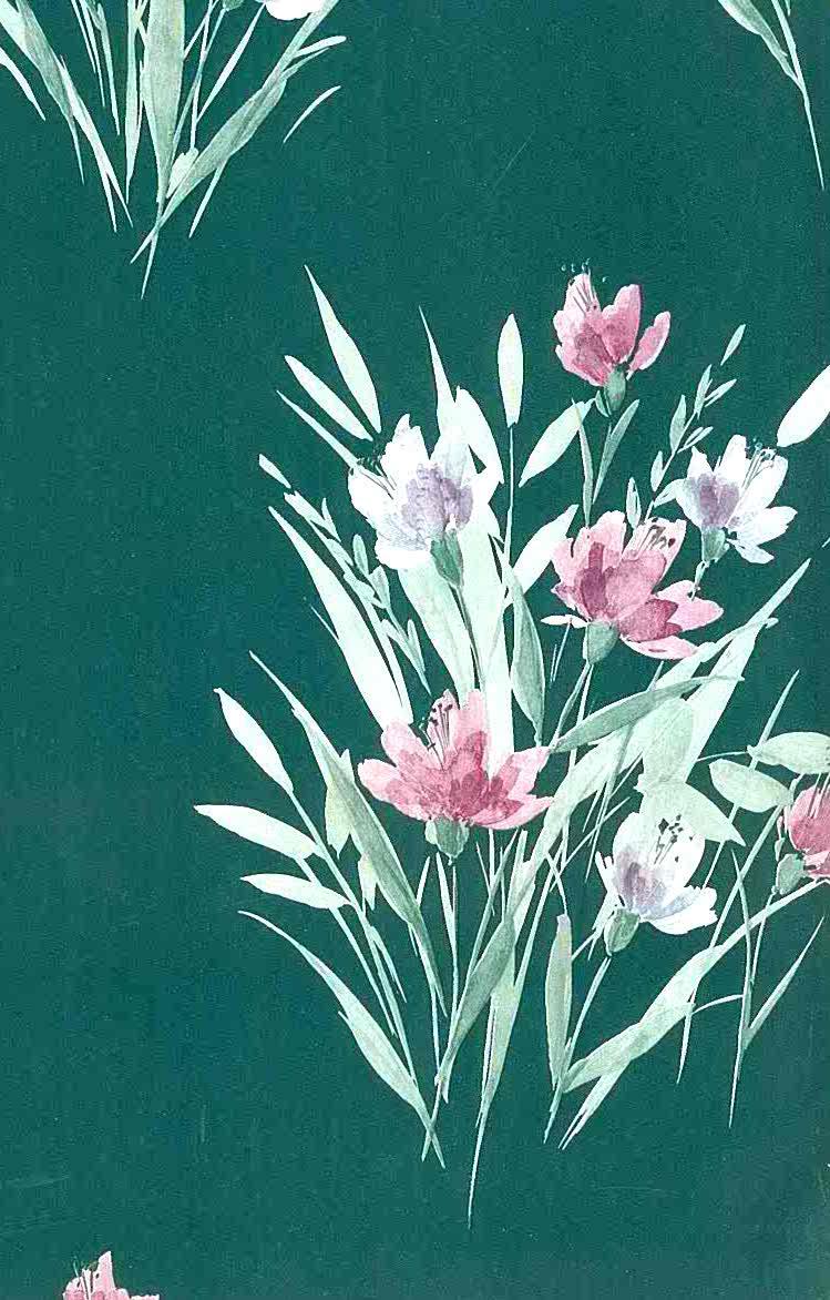 Shand Kydd vintage wallpaper, green satin, embossed, floral, pink, lavender, Oriental