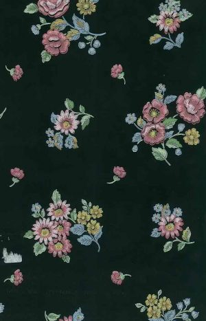 black floral vintage wallpaper, pnk, blue, yellow, green, cottage