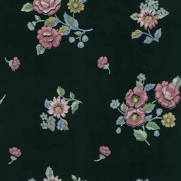 black floral vintage wallpaper, pnk, blue, yellow, green, cottage