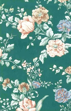 English cottage floral vintage wallpaper, UK, peach, pink, green, blue, taupe
