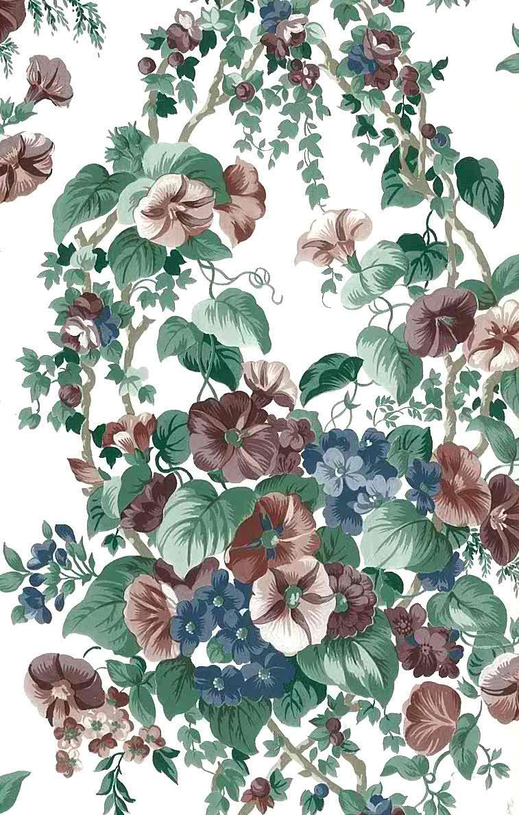 vintage wallpaper morning glories, purpe, lavender, green, blue, Off-White