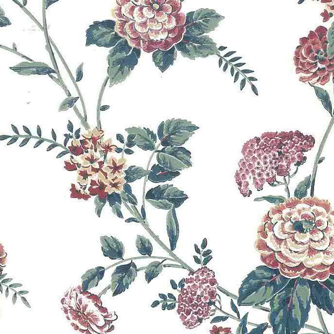 pink cottage floral vintage wallpaper, green, off-white, peonies