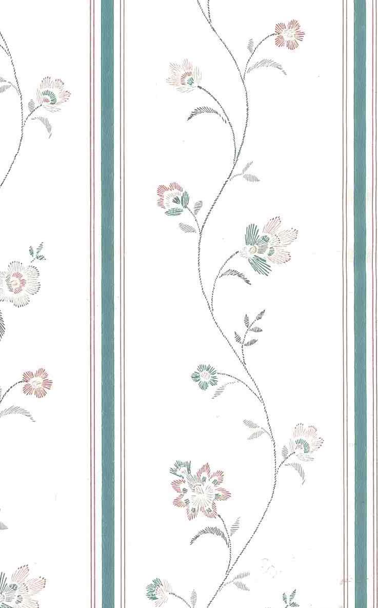 Waverly stencil vintage wallpaper, teal, pink, cream, cottage