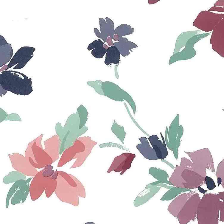 purple magenta floral vintage wallpaper, green, rose, pink white, cottage style