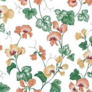 orchid vintage wallpaper, yellow, orange, green, vines, leaves, kitchen