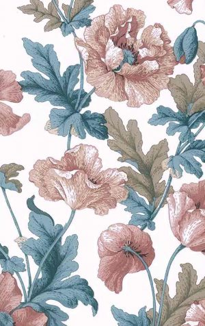 poppies vintage floral wallpaper, pink, teal, brown, off-white, leaves, flowers