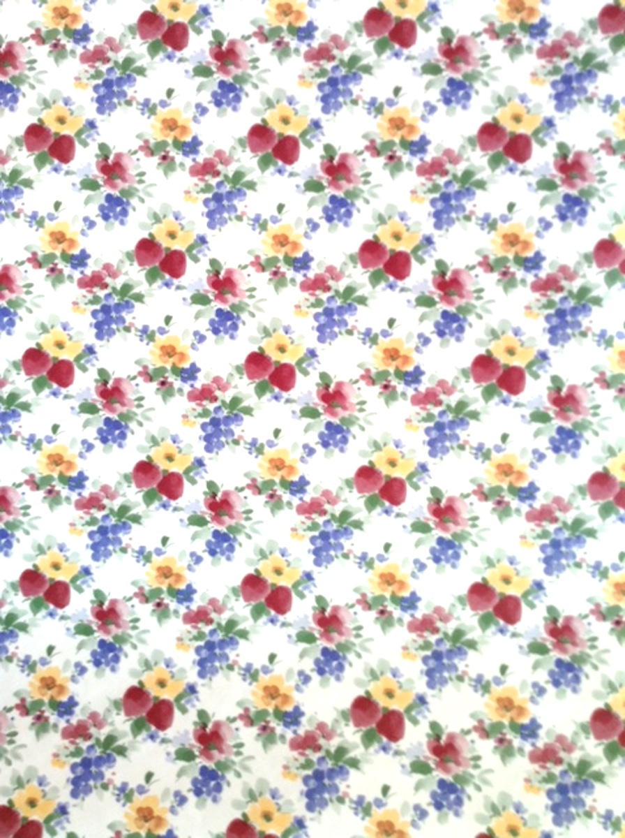 strawberries daffodils vintage wallpaper, red, yellow, blue, green, white, cottage style, fruit, floral