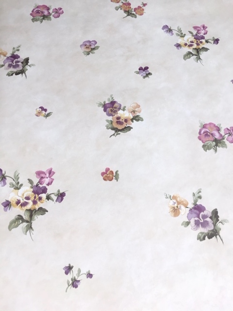 Pansies floral vintage wallpaper, cream, purple, cottage style, rose, green