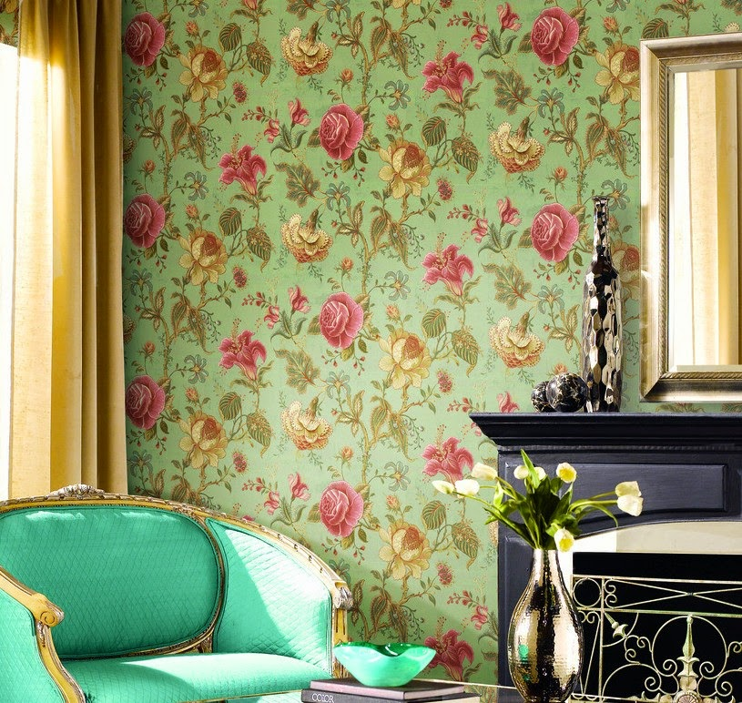 May Flowers on Floral Wallpaper Pattern