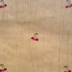 Vintage wallpaper cherries kitchen, crackle finish, red, orange, green, beige