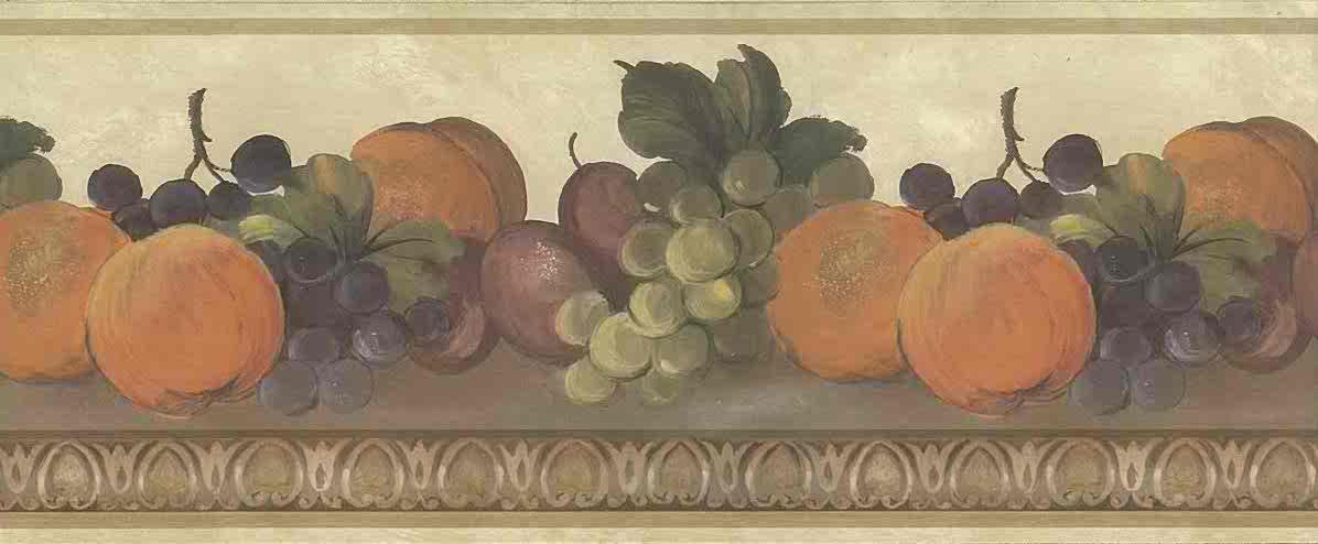 fruit vintage wallpaper border,beige,green,purple,orange,egg and dart, kitchen