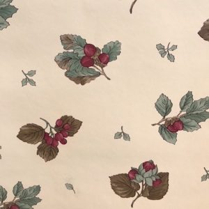 berries vintage wallpaper, Sanitas, cream, red, green, gray