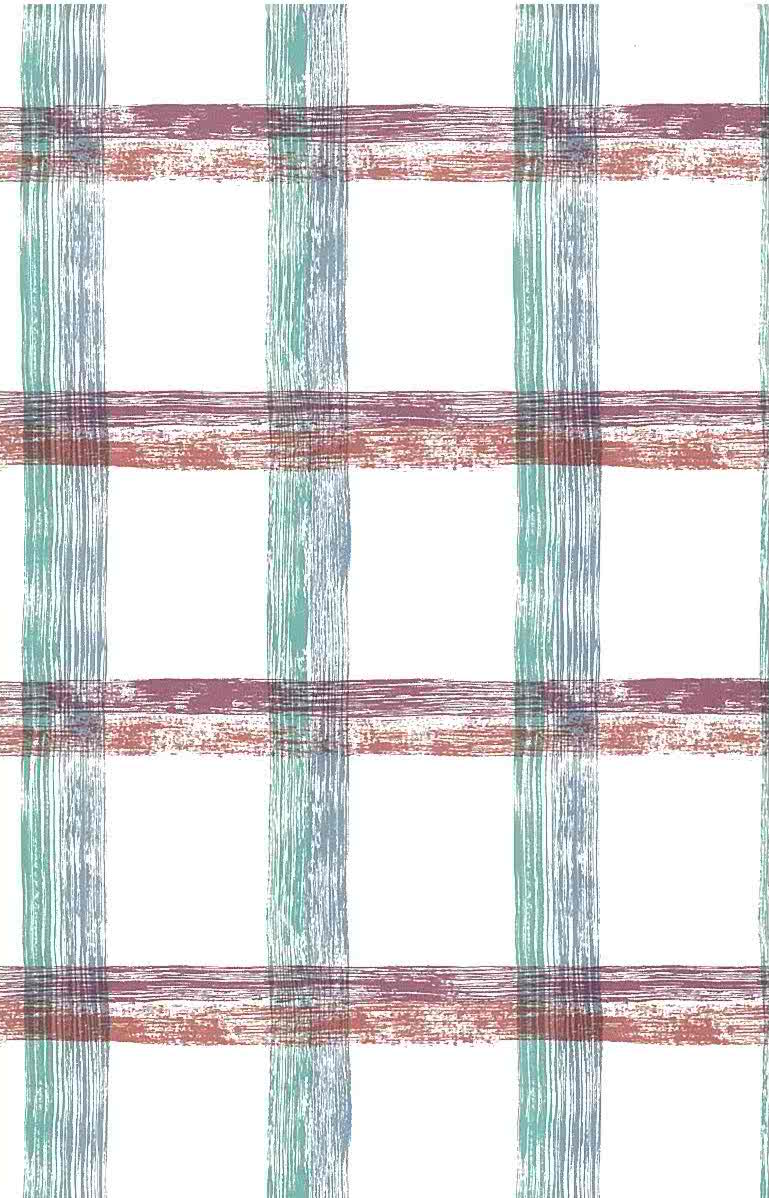 large-scale plaid vintage wallpaper, purple, orange, blue, green, white, itchen,