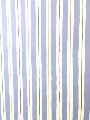 Blue white stripe vintage wallpaper, green, purple, pink, yellow, nursery, children's bedroom