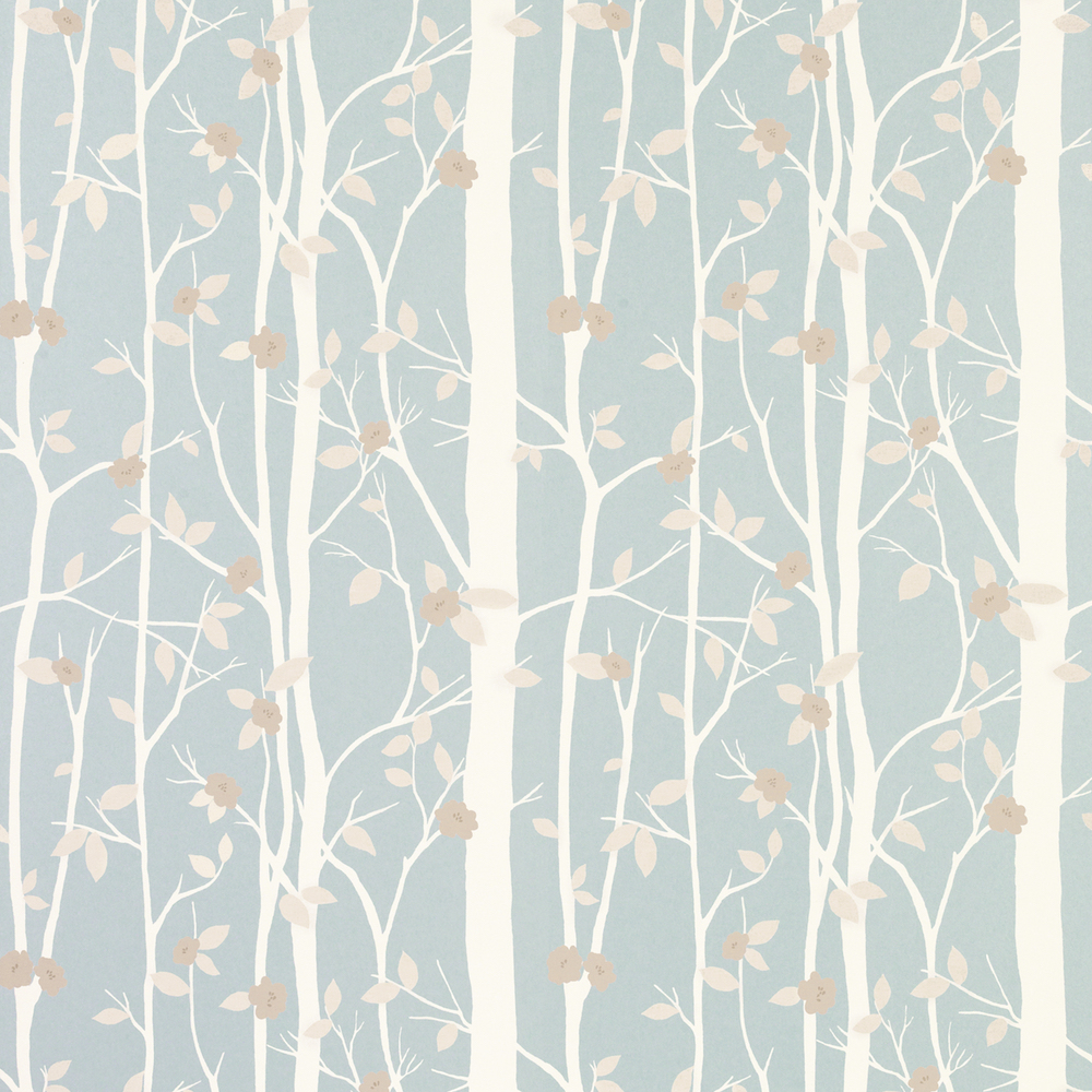 tree wallpaper leaves, brown, green, white, blue, Laura Ashley, Fall