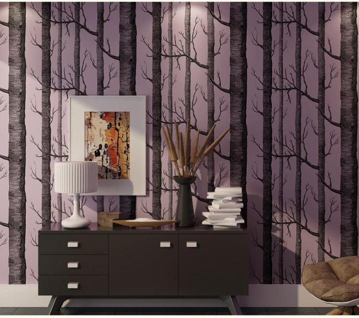 Tree patterned wallpaper, birch trees, black, pink