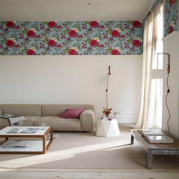 big impact Vintage Wallpaper Border doubled for dramatic look