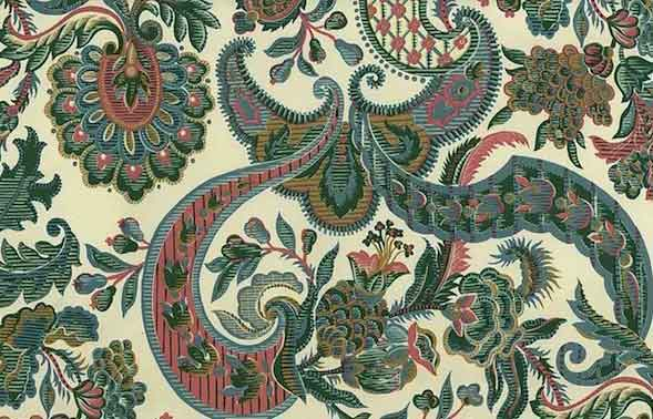 Waverly Jacobean Vintage Wallpaper in Cream, Green, & Pink