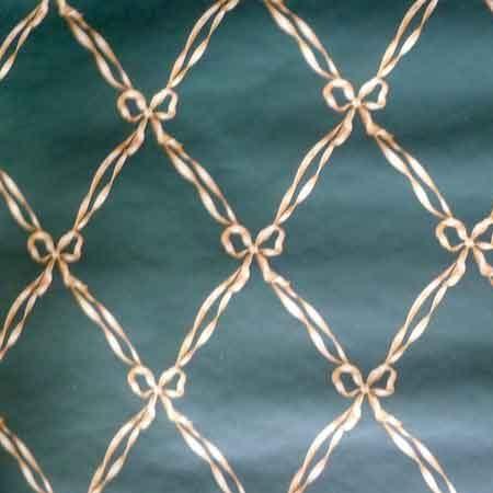 Ribbon Harlequin Vintage Wallpaper in Dark Green & Creamy Beige