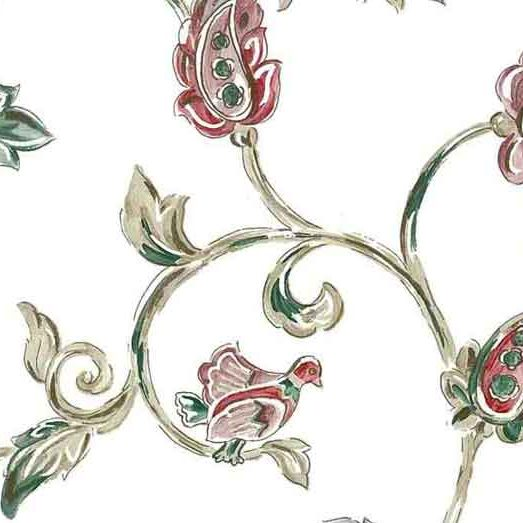 Jacobean Vintage Wallpaper floral with Green, Beige & Red on White