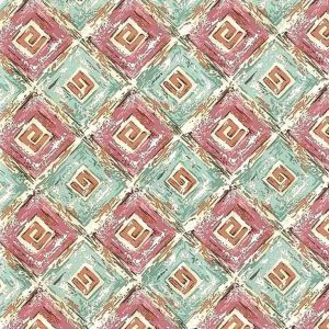 Vintage Greek Key Wallpaper in Teal, Pink & Cream