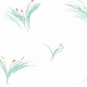 Vintage Floral Brush Strokes Wallpaper in White, Green, & Golden Yellow