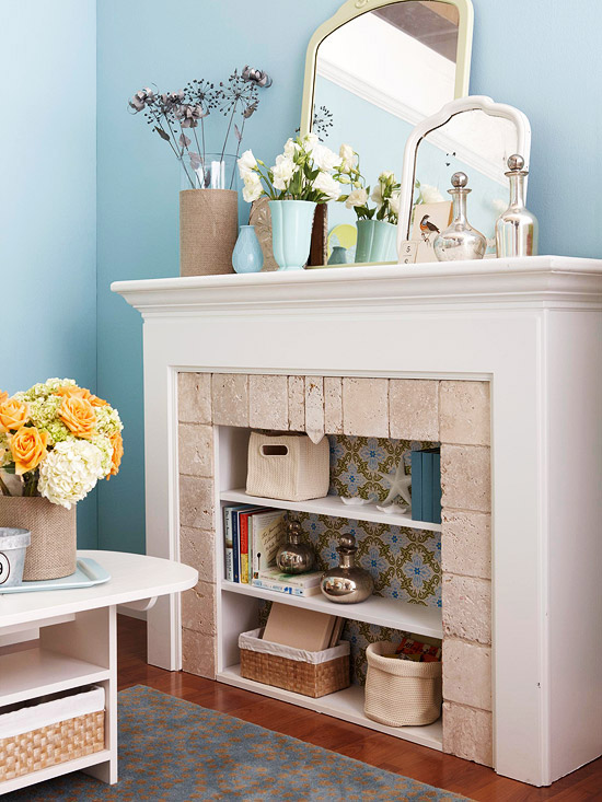 Unused Fireplace becomes pretty storage
