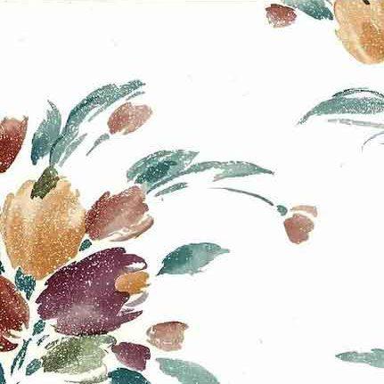 Vintage Tulip Bouquet Wallpaper in Off-white, Pumpkin, Eggplant, & Teal