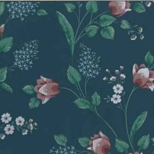 Vintage Floral Wallpaper in Slate Blue, Pink, & Green