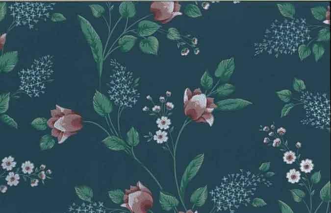 Vintage Floral Wallpaper in Slate Blue, Pink, & Green
