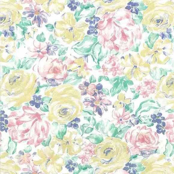 Vintage Shand Kydd Floral Wallpaper in yellow, pink, green & blue pastels