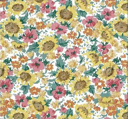 sunflowers vintage wallpaper yellow floral green pink tm