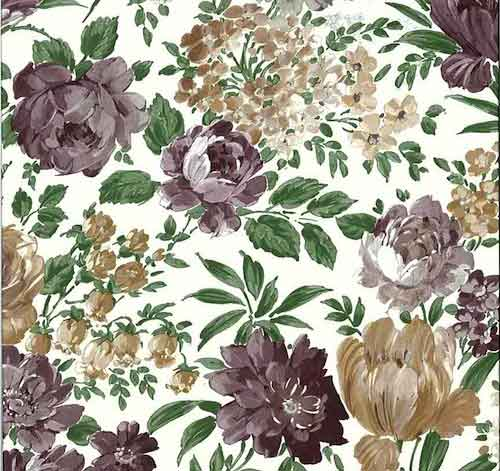 Vintage Victorian Floral Wallpaper in Purple, Taupe, Green, & White