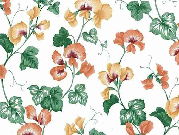 Orange Orchids Vintage Wallpaper in White, Yellow, & Green