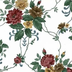 A dahlias vintage floral wallpaper with Maroon blossoms & smaller blooms in Yellow & Brown. Green leaves & vines connect the flowers on a White background.