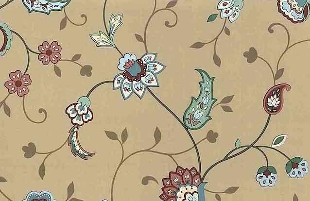 Vintage Paisley Floral Wallpaper in Taupe, Sage, Rust & Teal