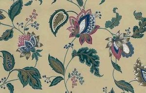 Jacobean Floral Vintage Wallpaper in a paisley style