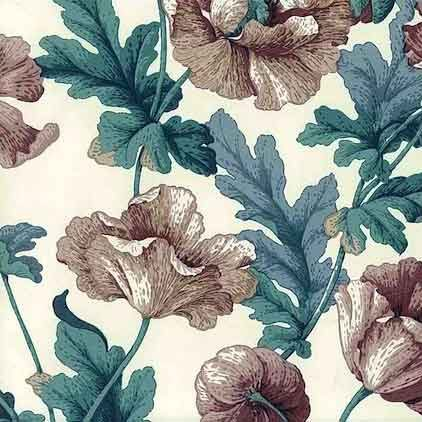 Large Blooming Red Poppy Gold Violet Geranium Flower Floral White Roll Wallpaper