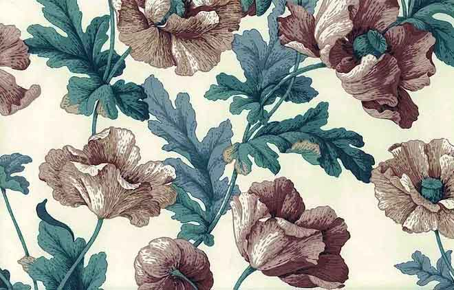Floral Poppies Vintage Wallpaper in Taupe, Purple-Rose, Teal Green, & Cream