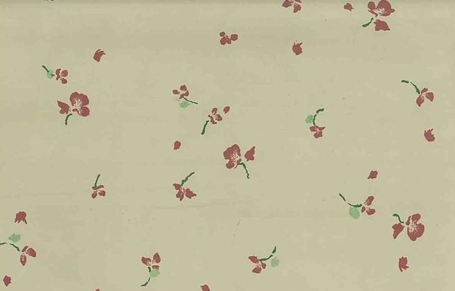 Schumacher Floral Vintage Wallpaper, creamy beige