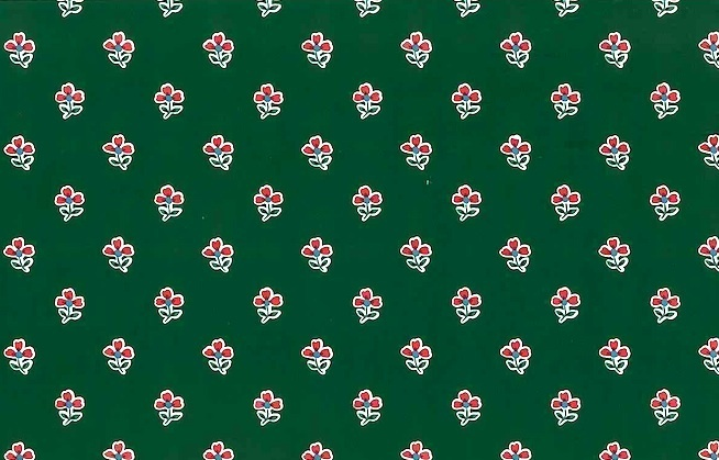 Vintage Waverly Floral Wallpaper in deep Green & Red